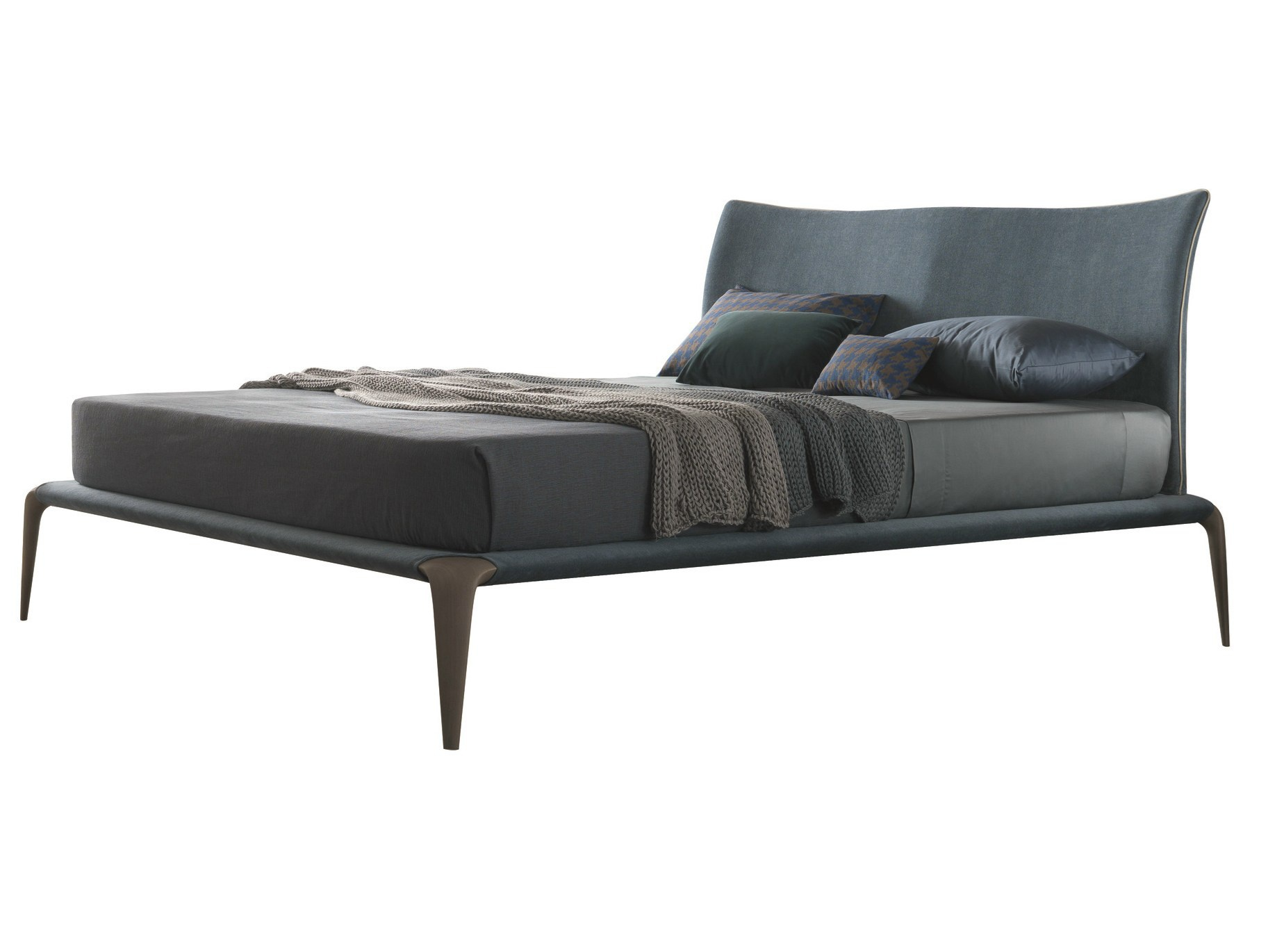 double bed with wooden legs in fabric margareth