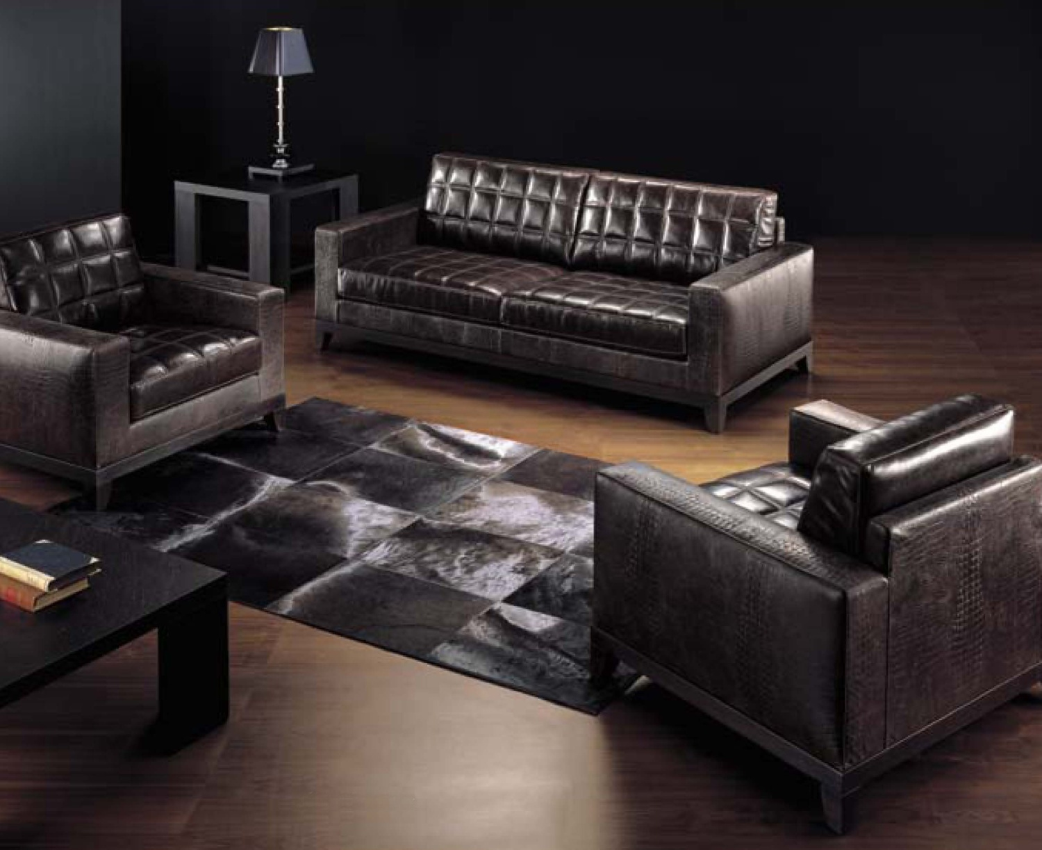 Three Seater Sofa In Leather Upholstery