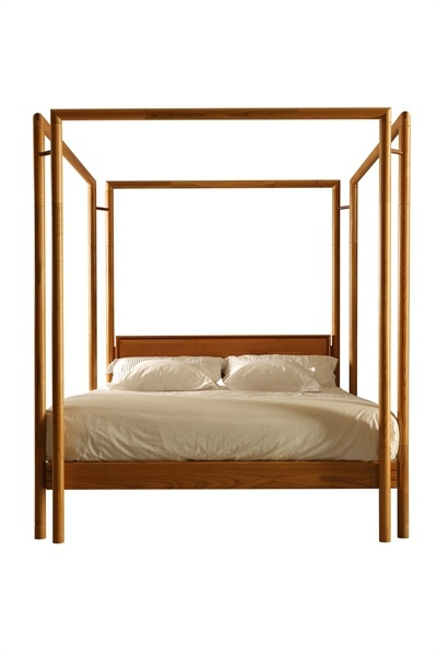 double bed with canopy 2881 from solid cherry morelato