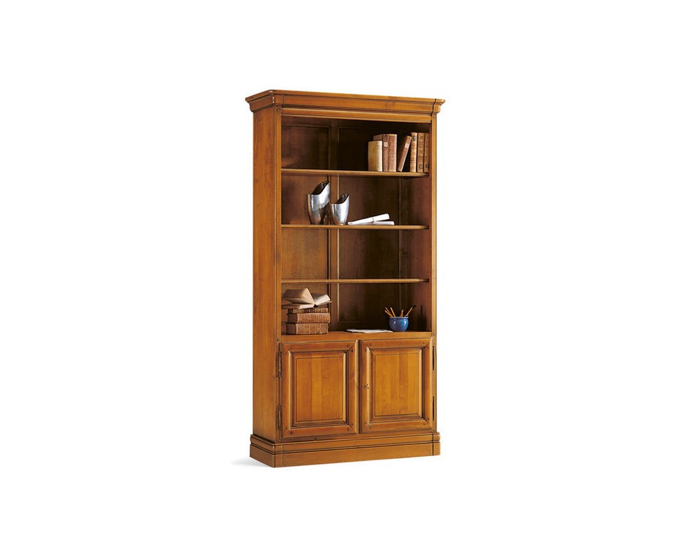 Louis Philippe Open Bookcase: Bookcase With Open Shelves Cherry Wood, Selva