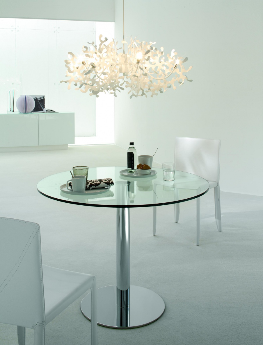 Dining Table On Steel Base With Glass Tabletop Henry, Cattelan Italia