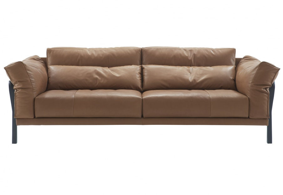 Sofa steel frame upholstered in leather cityloft ligne roset luxury furniture mr Steel frame sofa