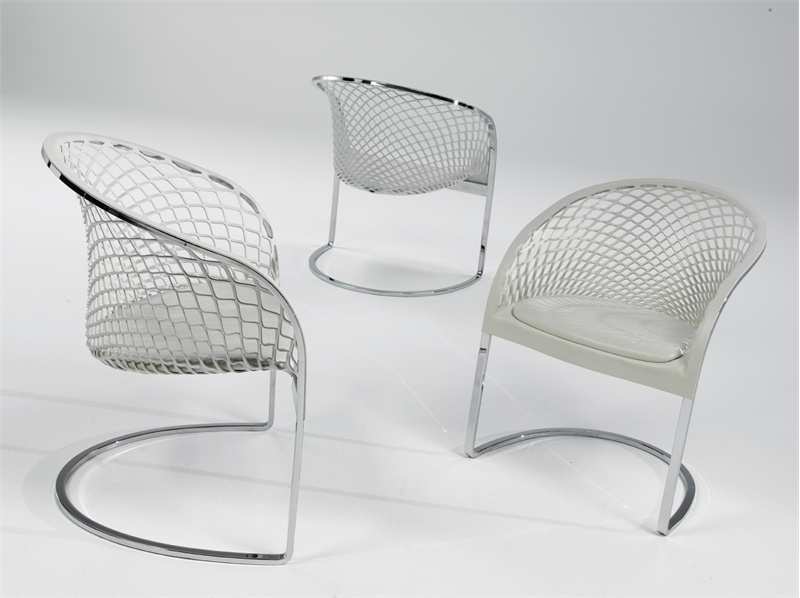 Armchair On Chrome Steel Frame Leather Upholstered Arete Matteograssi