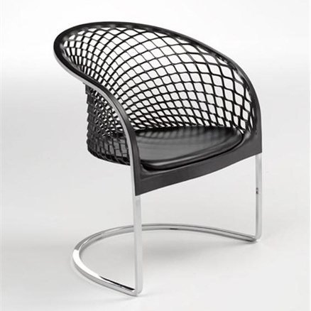 Wonderful Armchair On Chrome Steel Frame Leather Upholstered Arete, Matteograssi