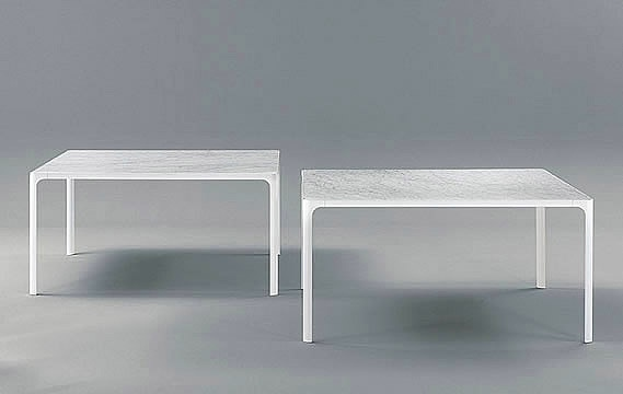 Dining table in aluminum or titanium frame with glass or marble top Flat, Rimadesio