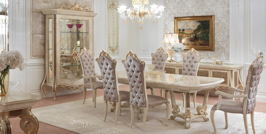 Dining Room Set Made Of Solid Wood Baroque Turri