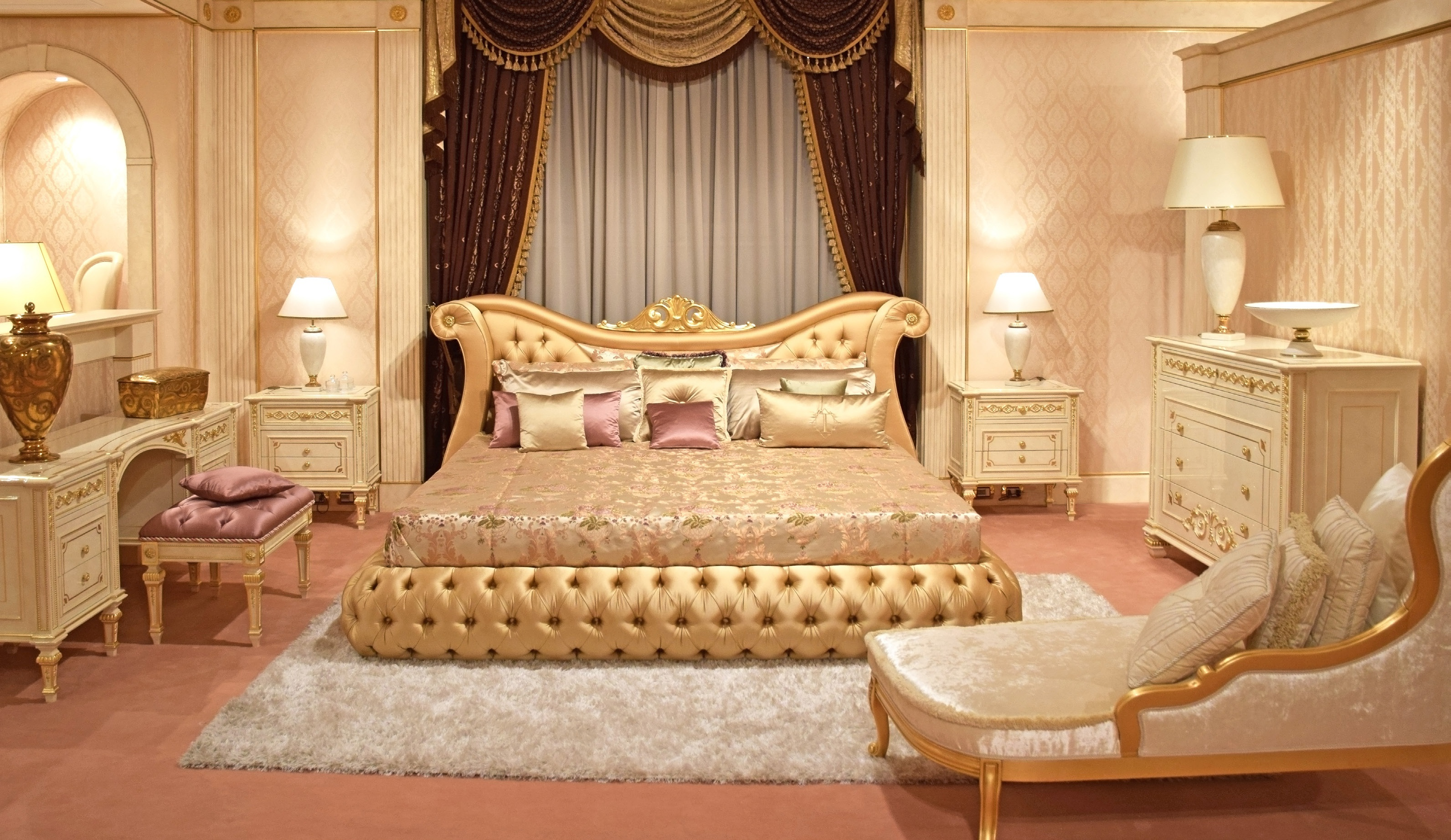 Bed Double Made Of Solid Wood With Shaped Upholstered