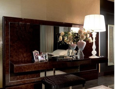 Double bed solid wood with upholstered headboard bed for Turri arredamenti