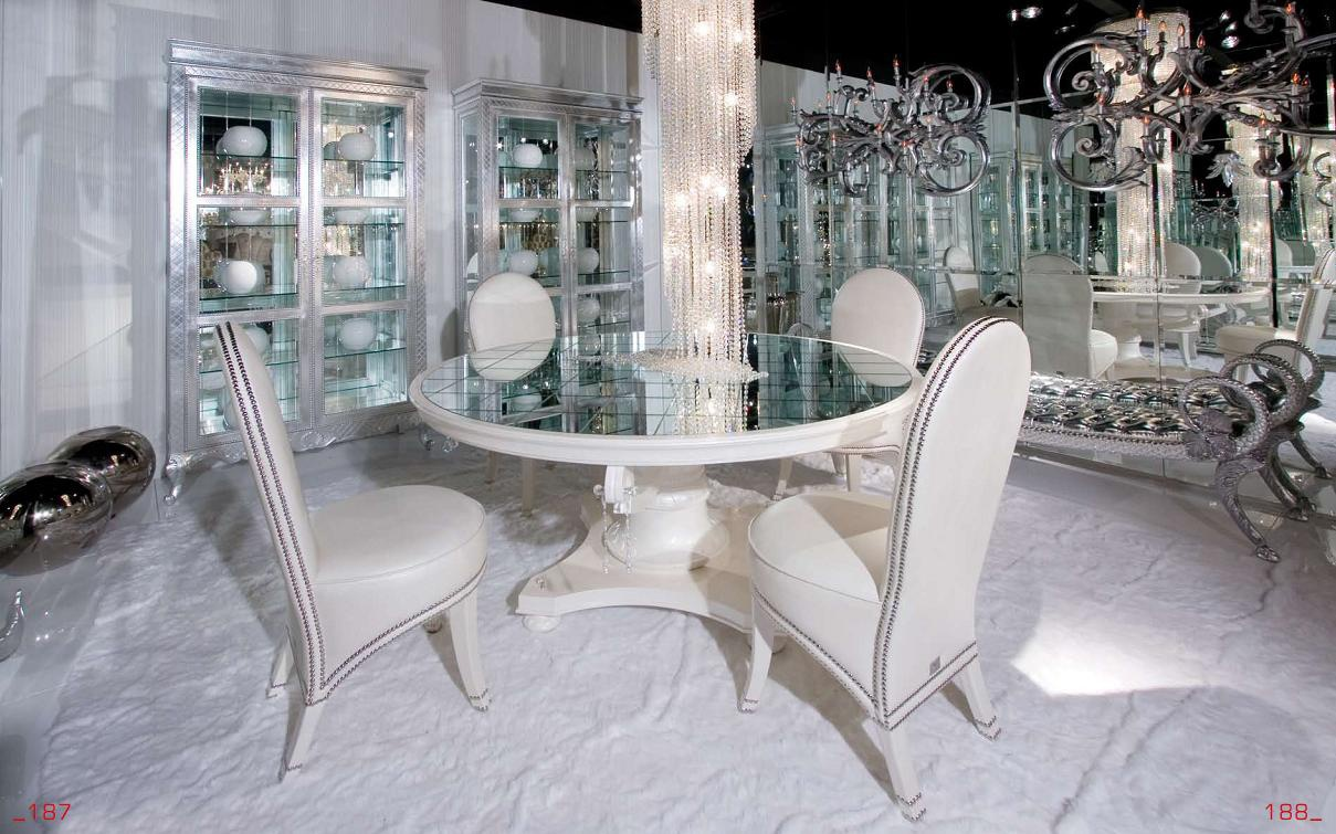 Set For Dining Room With Round Mirrored Table Cornelio Cappellini Luxury Furniture Mr
