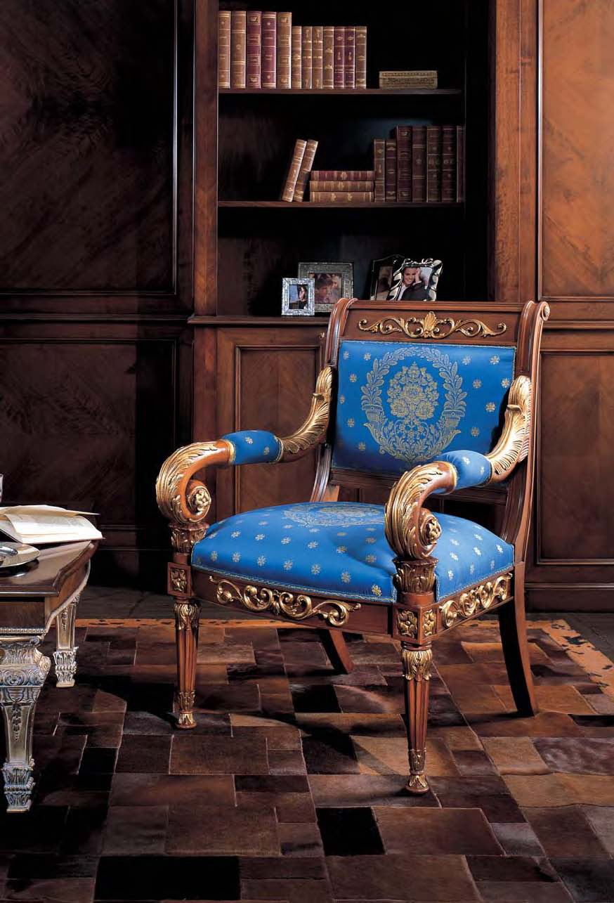 Chair frame made of wood with carved armrests ala mobili for Mobili wooden art