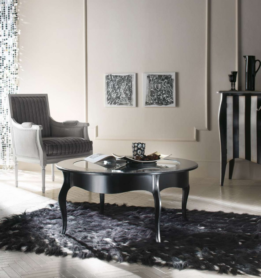 Coffee Table Solid Wood With Glass Top Domus Mobili Luxury