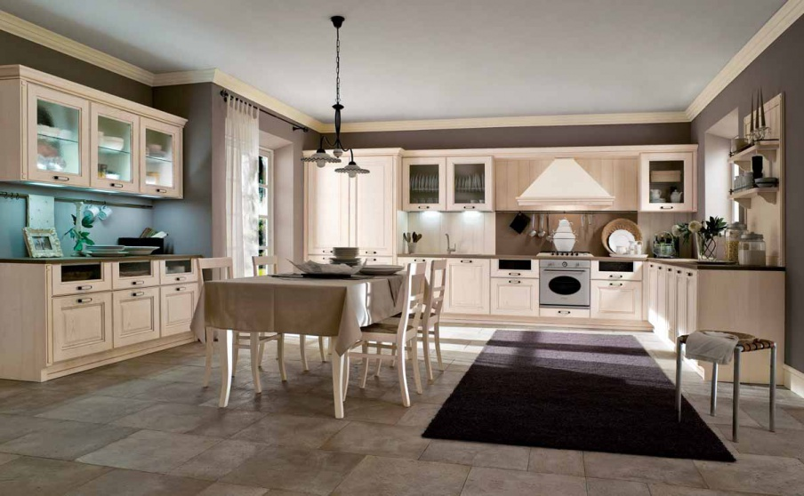Kitchen kitchen set made of solid wood with lighting laguna