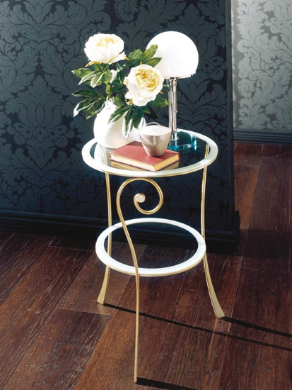 Bedside table made of metal with glass top Rugiada, Bontempi Casa