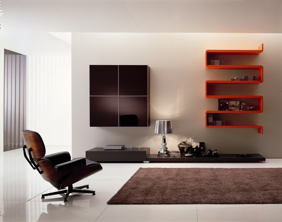 modular storage system for the living room in a modern