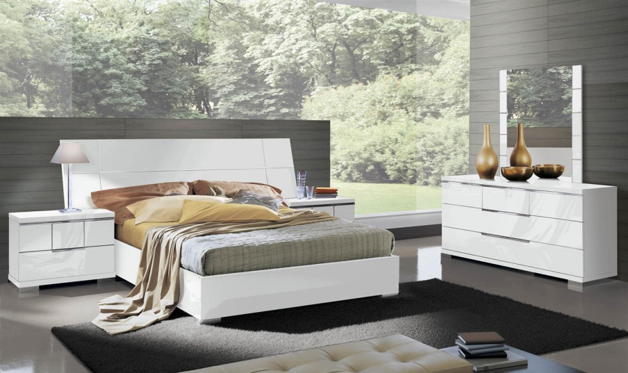 Set For Bedroom Made Of Solid Wood In White Lacquer Finish Asti Alf Luxury Furniture Mr
