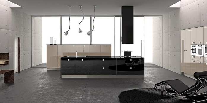 Set for the kitchen with a wall of karakala Arrital Cucine, Light 5 COLOURS
