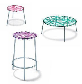 Stool on metal frame Zig zag, Edra