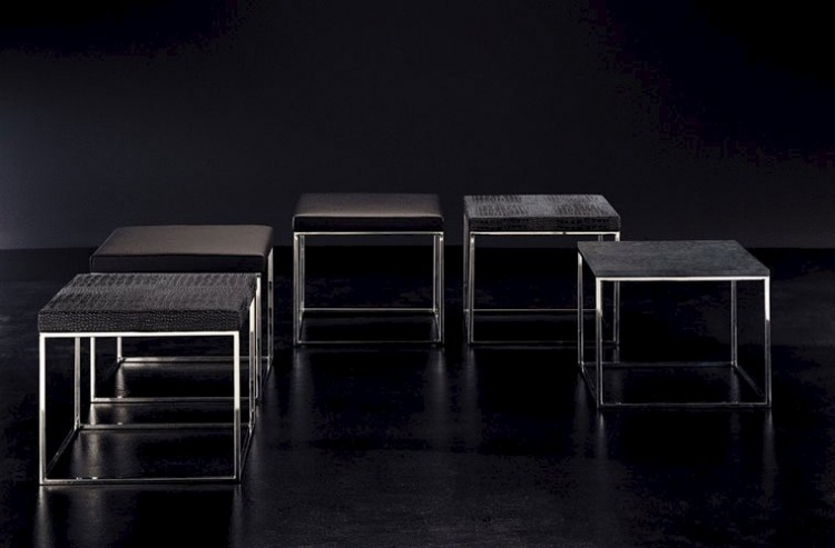 Stool / low table frame in chromed metal, Gala - Rivolta