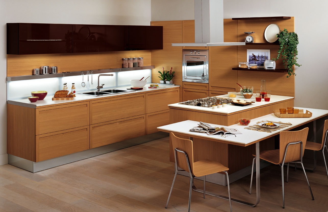 Kitchen Kitchen Set On A Frame Of Wood With Built In Lighting Terra Snaidero Luxury Furniture Mr