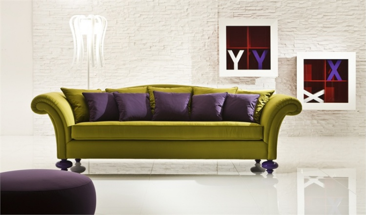 Three-seater sofa on a frame of solid wood upholstered in leather or fabric Egoist, mod? by Di liddo e Perego