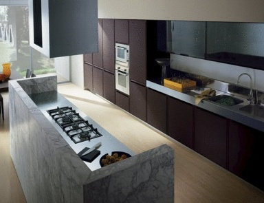 Kitchen (Suite Kitchen) With Top Made Of Marble Or Metal Fusion, Ernestomeda