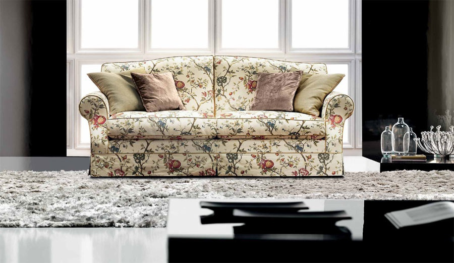 Two seater sofa with a frame made of natural wood Paris ...