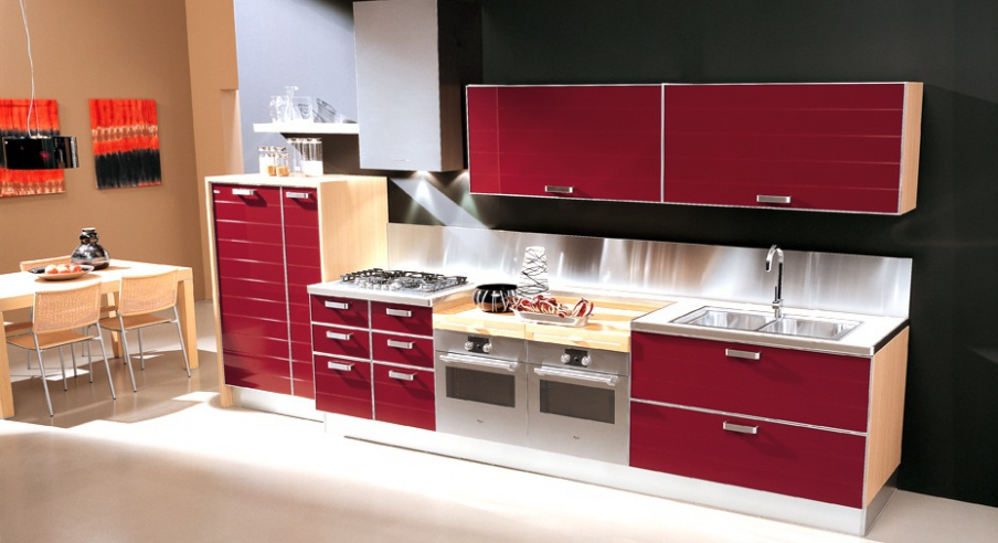 Set for the kitchen in wood finish laminate doge - Zaccariotto cucine ...