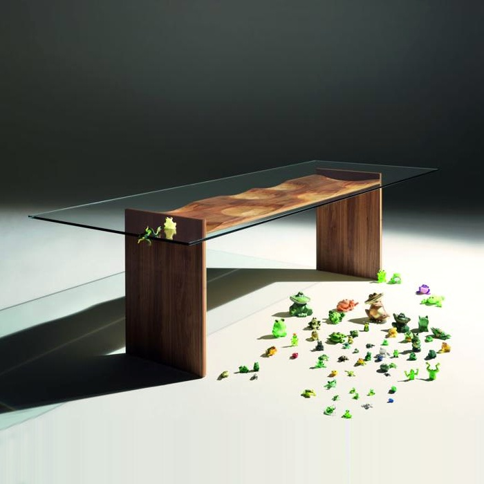Dining table with rectangular top, Ripples - Horm