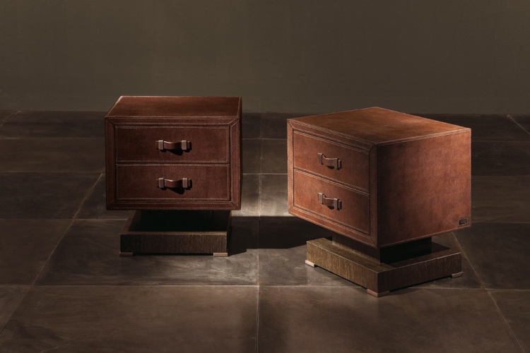 Bedside table with leather upholstery Parigi - Rugiano