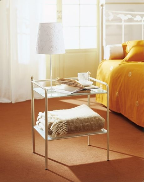 Bedside table made of metal with glass top Canova, Bontempi Casa