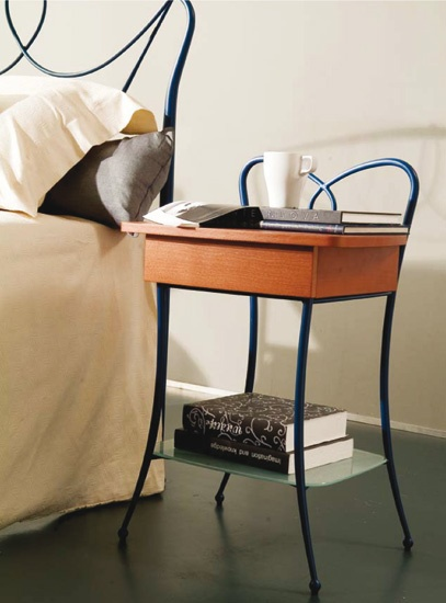 Bedside table made of metal with glass top Tao, Bontempi Casa