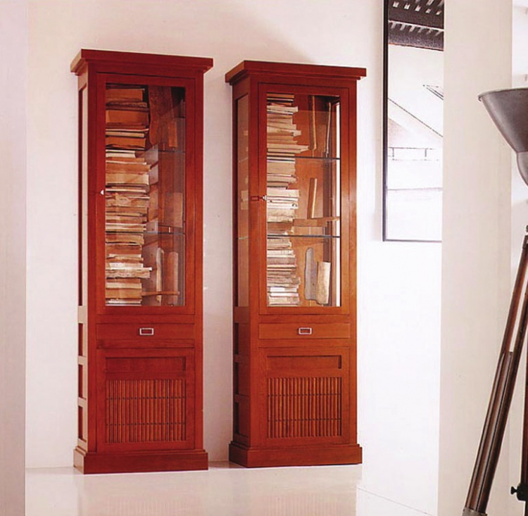Showcase cherry wood E1255, Annibale Colombo