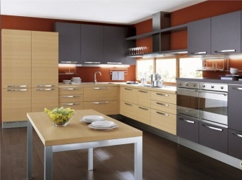 Kitchen (kitchen set) made of wood and metal with doors of frosted ...