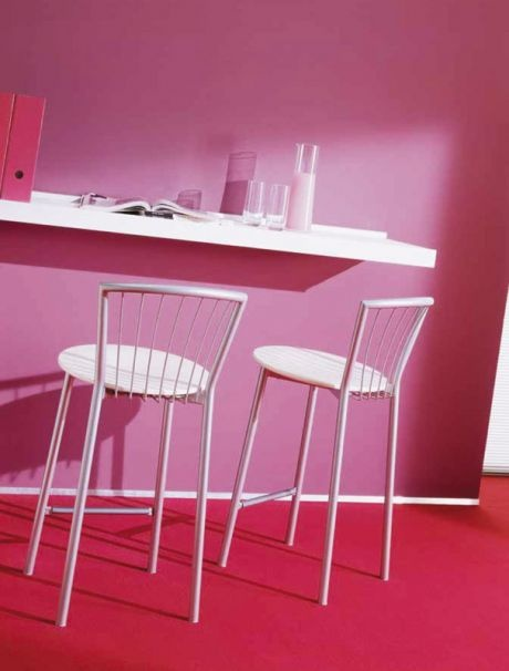 Bar stool on steel base, Calipso, Bontempi Casa