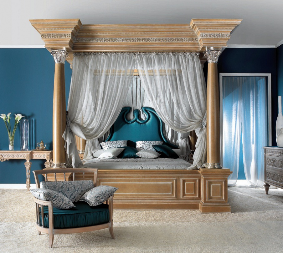 double bed solid wood canopy bed elledue luxury