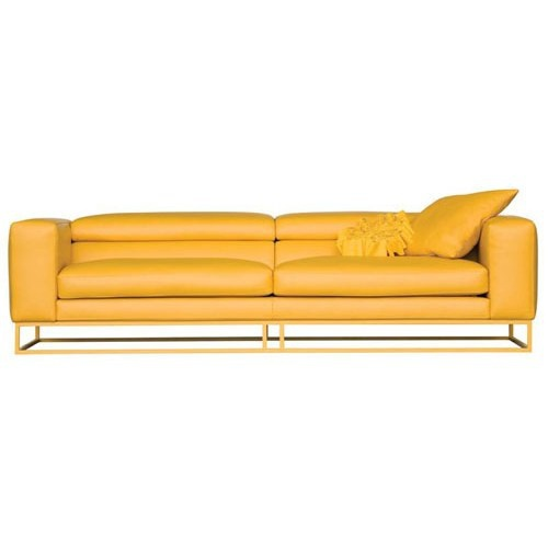 Sofa with metal base leather upholstered Eclat, Roche Bobois