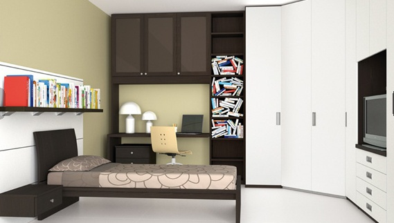 Set For Bedroom Made Of Solid Wood With Modular Wall