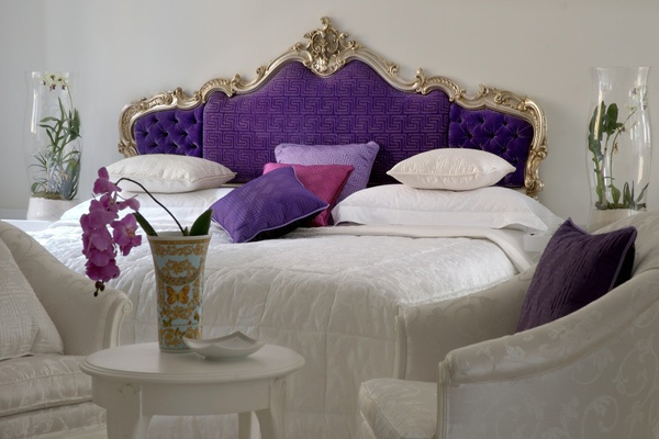 Double bed with quilted headboard versace home luxury furniture mr for Quilted headboard bedroom sets