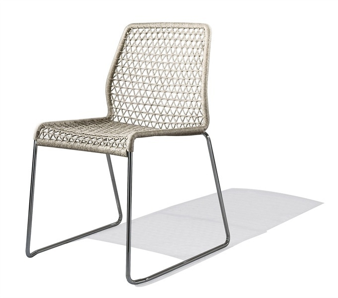 Stackable chair with stainless steel frame and seat in PVC or textile Vela, Accademia