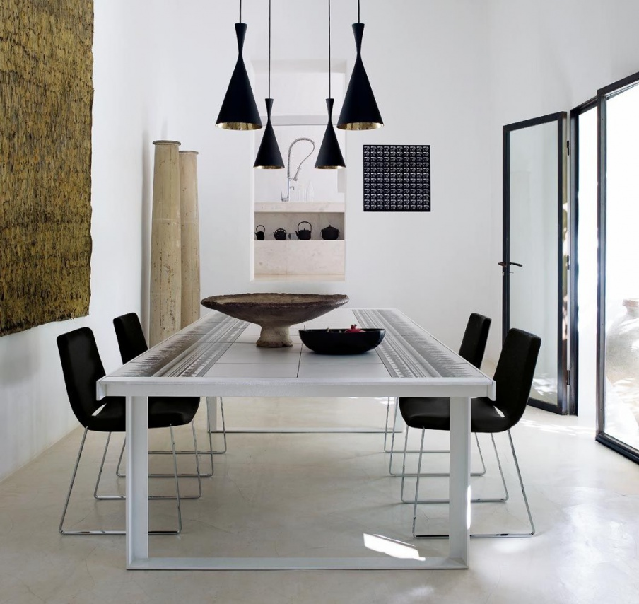 Dining table on steel frame with top in ceramic tiles Canasta B&B Italia