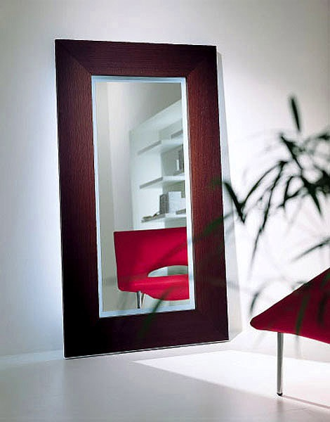 Backlit mirror with frame made of wood or glass shelf from DSP Mirrors, Acerbis International