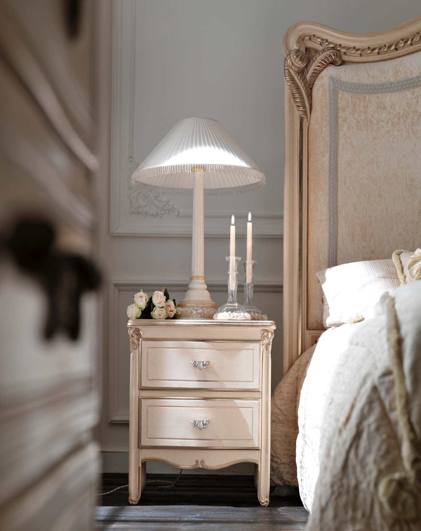Bedside Table With 2 Drawers Solid Wood Ambiente Notte