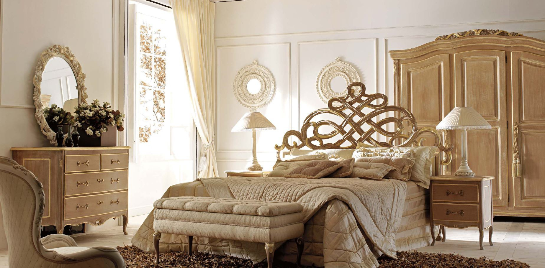 Double bed with sculpted headboard ambiente notte savio firmino luxury furniture mr - Savio firmino camerette ...