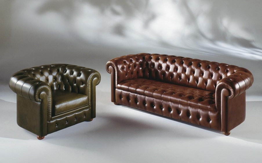 Sofa Set Upholstered In Natural Leather