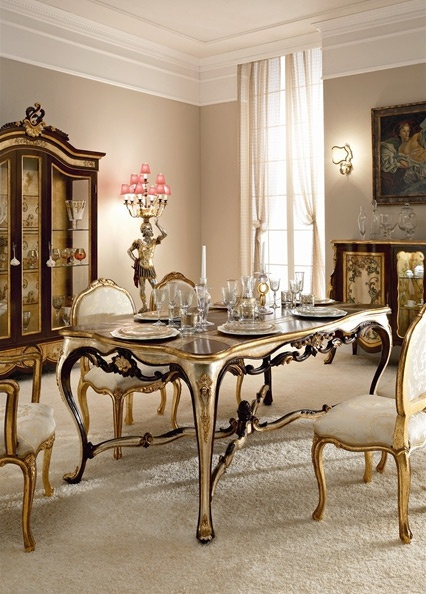 Dining table with frame in solid wood, top made of glass and d?cor from gold foil Andrea Fanfani, Andrea Fanfani