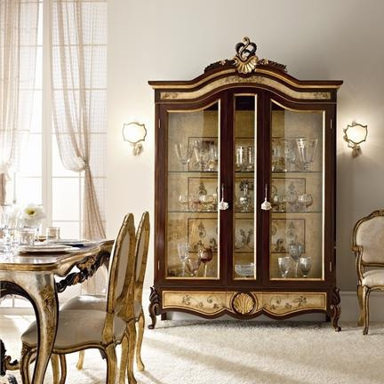 Cabinet with body made of solid wood, glass fa?ade and d?cor from gold foil Andrea Fanfani, Andrea Fanfani