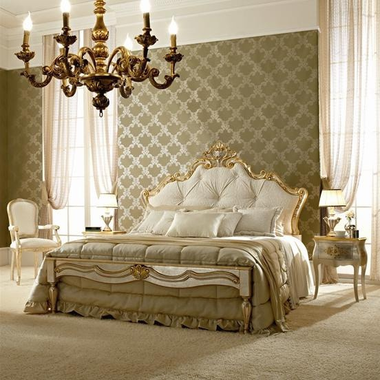Double bed with frame made of solid wood, fabric and d?cor made of gold foil Andrea Fanfani, Andrea Fanfani