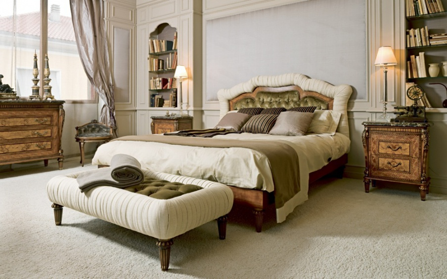 Bed With A Frame Made Of Cherry Wood, Cherry Veneer Bedroom Furniture