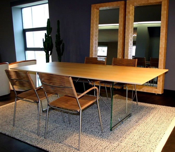 Dining Table On Wooden Legs With Glass Top Sailor Bonacina Pierantonio Lux
