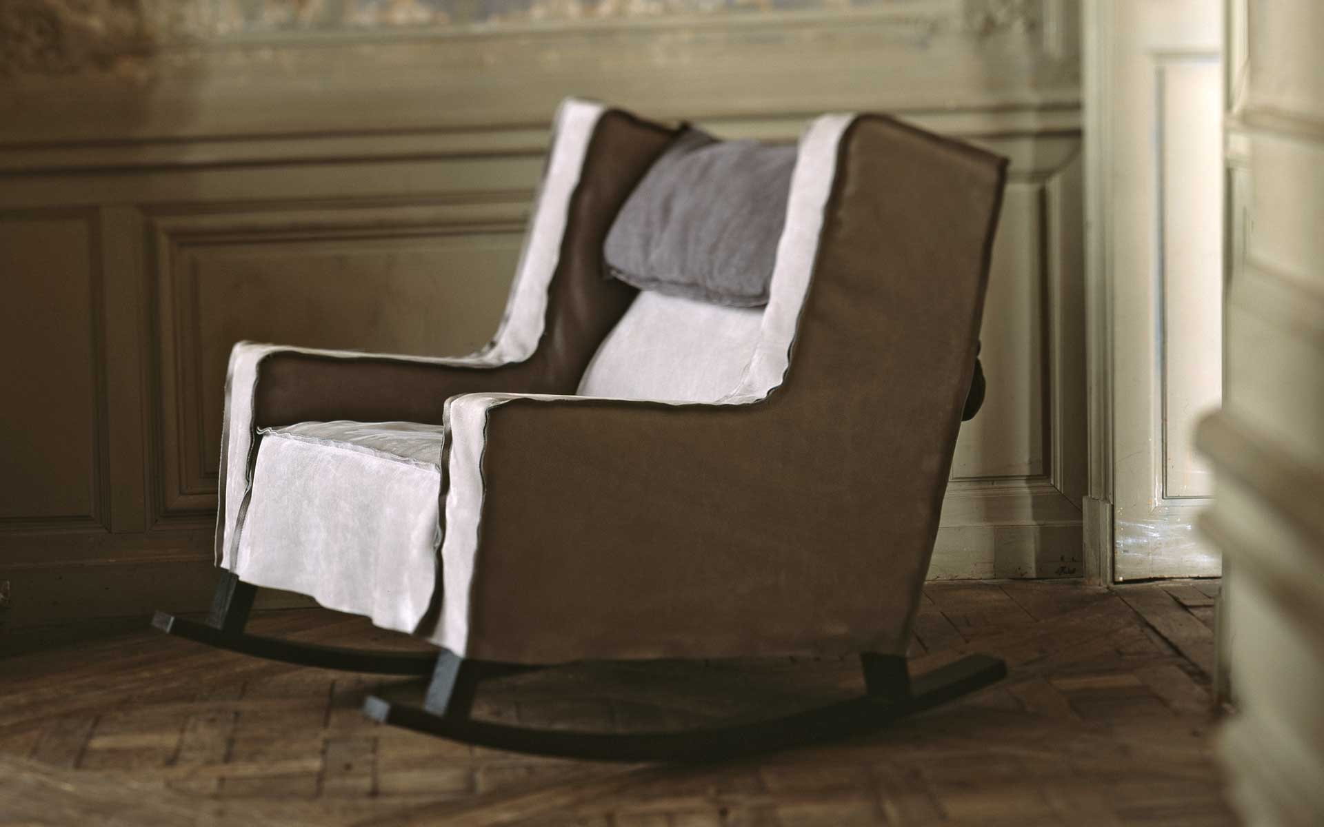 Rocking chair leather Rocking Housse Baxter Luxury furniture MR
